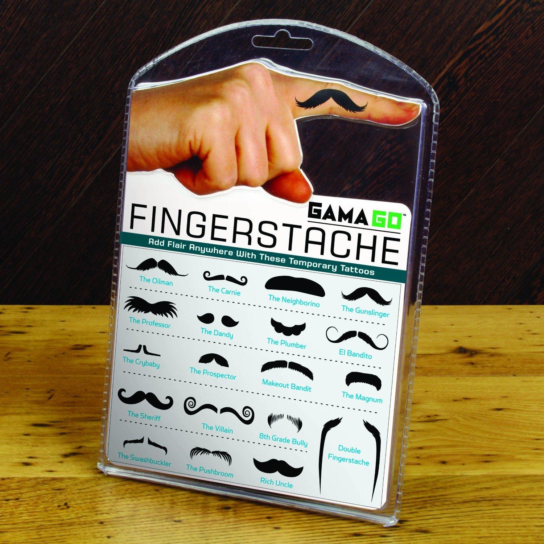 Small Black Mustache Finger Tattoo