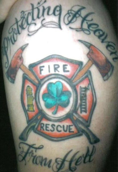 Best Firefighter Tattoo On Left Half Sleeve
