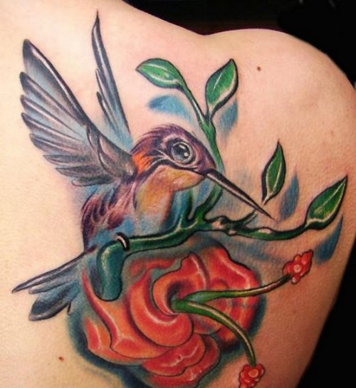 Color Hummingbird and Flower Tattoo On Right Back Shoulder