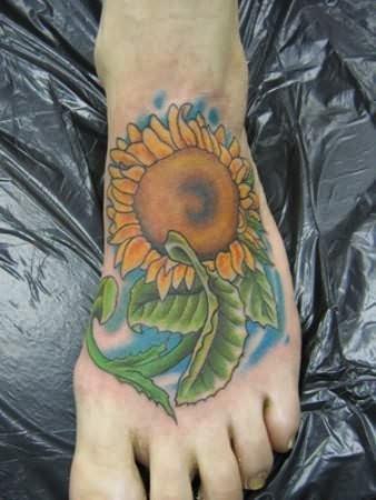 Sun Flower Tattoo On Foot