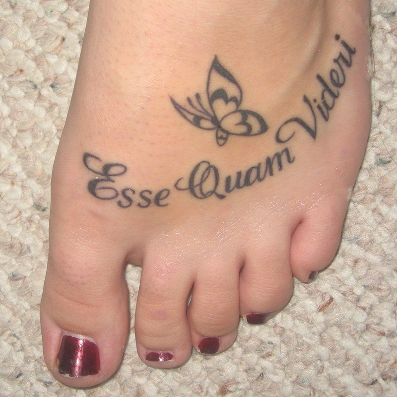 Butterfly Tattoo On Girl Left Foot