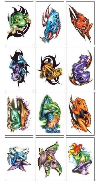 Liquid Skin Frog Temporary Tattoos Samples