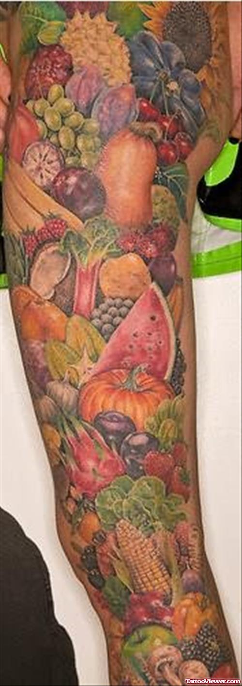 Fruits Colourful Tattoos On Full Arm