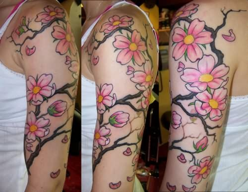 Cherry Blossom Large Tattoo On Shoulder