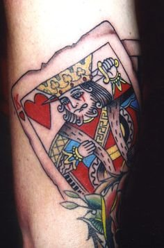 Colored Gambling Cards Tattoo On Bicep