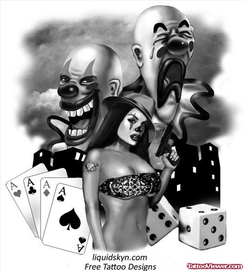 Gangster Clown Girl And Dice Tattoos Design