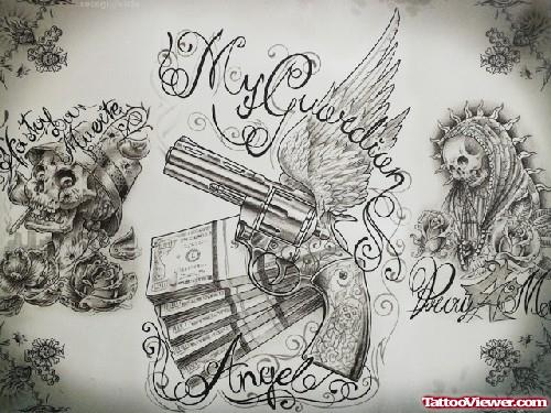 Grey Ink Gun and Money Gangster Tattoo Design
