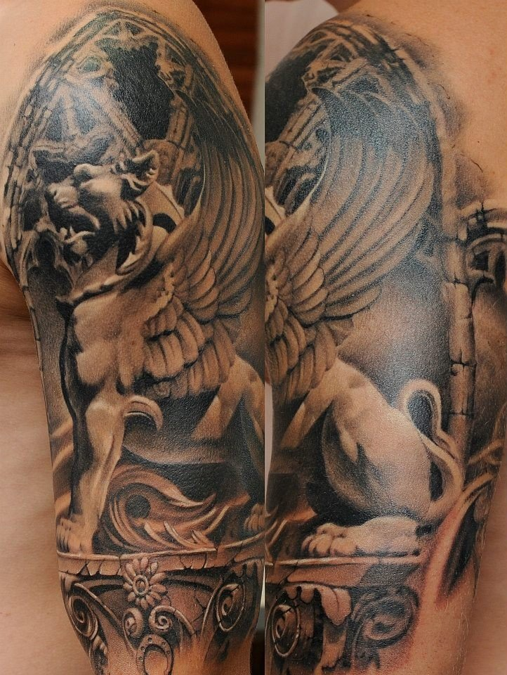 Latest Grey Ink Gargoyle Tattoo On Left Half Sleeve