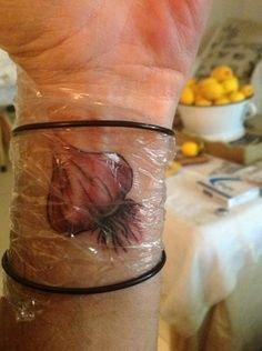 Recent Garlic Tattoo On Left Wrist