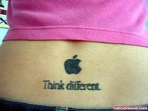 Think Different Apple Logo Geek Tattoo On Lowerback