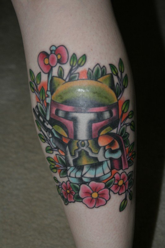 Color Flowers and Hello Kitty Geek Tattoo On Sleeve