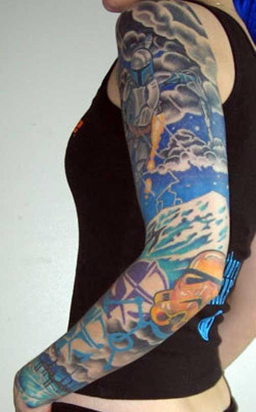 Color Ink Geek Tattoo On Left Sleeve