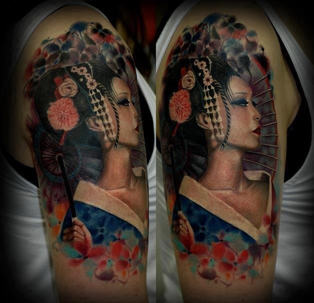 Wildstyle Geisha Tattoo On Half Sleeve