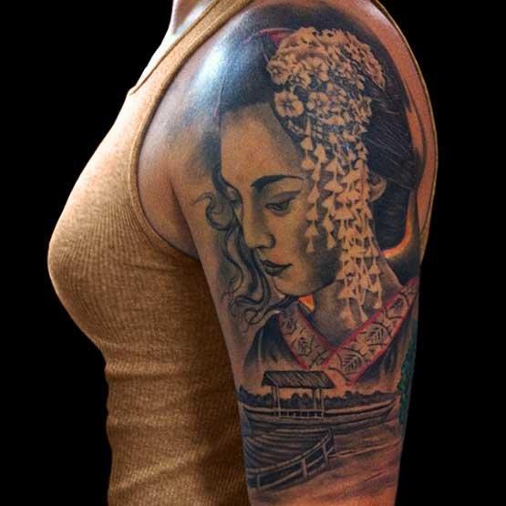 Grey Ink Left Half Sleeve Geisha Tattoo