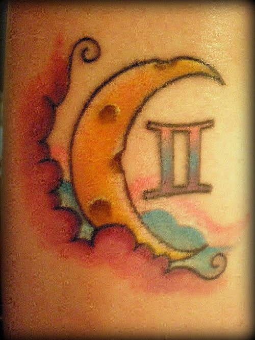 Color Ink Moon and Gemini Tattoo Design