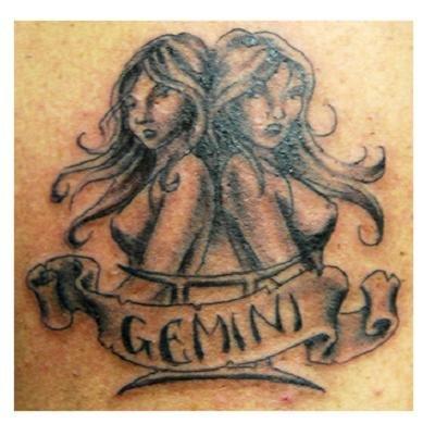 Grey Ink Gemini Banner Tattoo