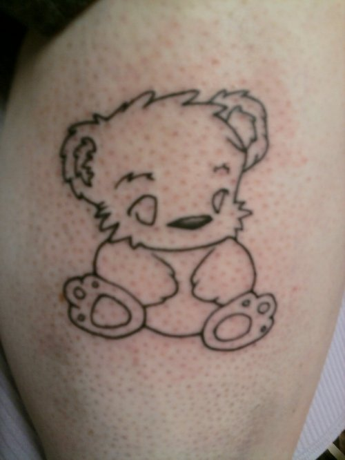 Outline Gothic Bear Tattoo