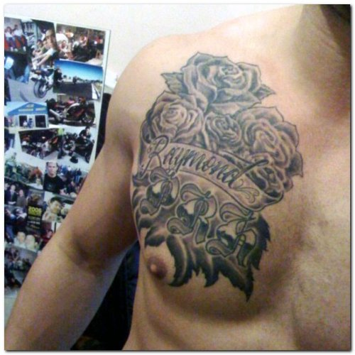 Grey Ink Gothic Flowers Tattoos On Man Chest