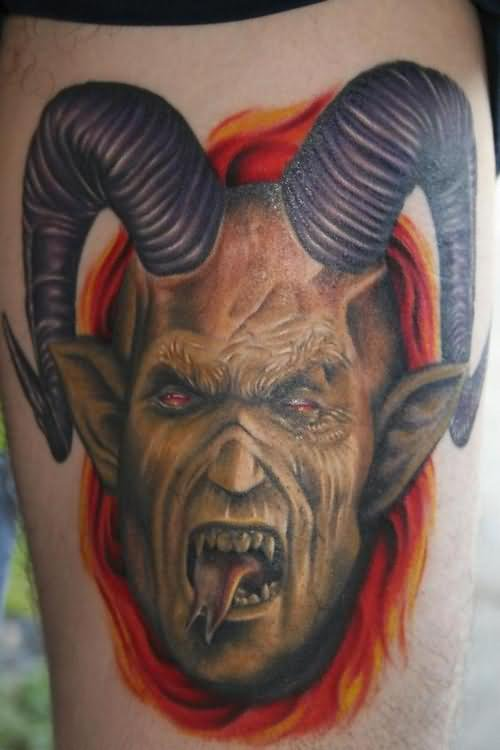 Color Ink Gothic Satan Tattoo