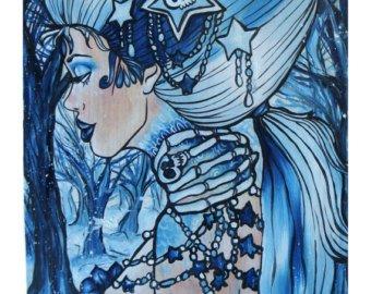 Blue Ink Gothic Tattoo Design