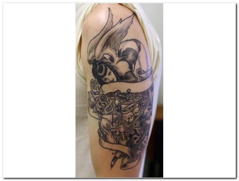 Gothic Upper Shoulder Tattoo