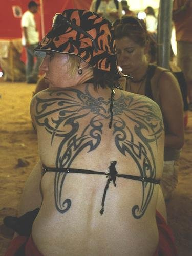 'Tribal Gothic Butterfly Tattoo On Back