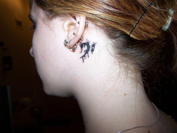 Graffiti Bass Tattoo Behind Ear