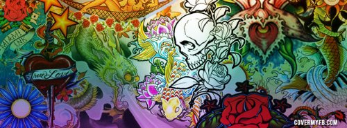 Awesome Colored Graffiti Tattoos Design