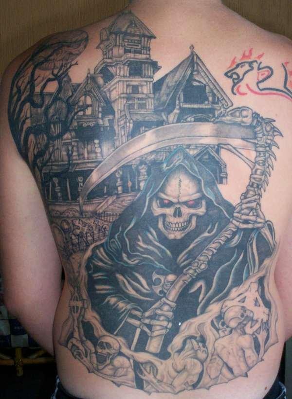 Grey Ink Horror Grim Reaper Graveyard Tattoo On Back
