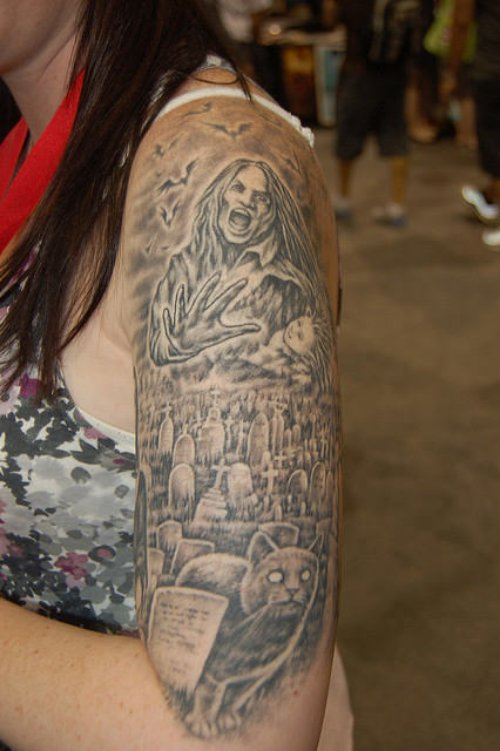 Grey Ink Left Half Sleeve Graveyard Tattoo For Girls