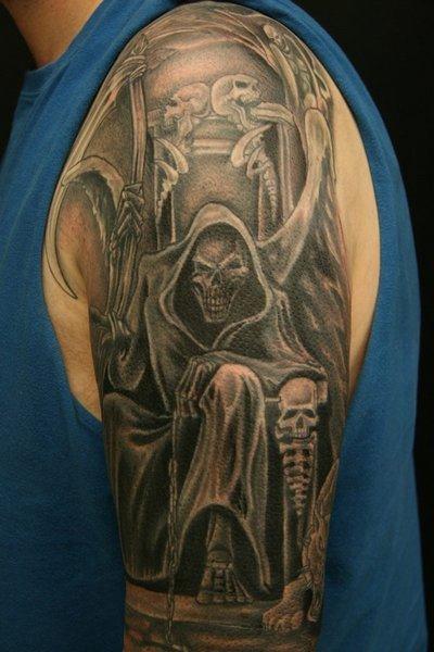 Awesome Grey Ink Graveyard Tattoo On Left Half Sleeve