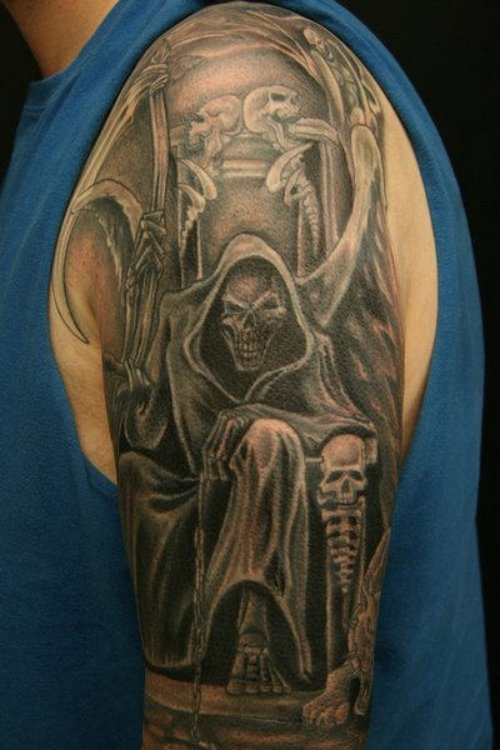 Awesome Grey Ink Graveyard Tattoo On Left Half Sleeve