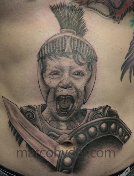 Grey Ink Greek Warrior Shouting Tattoo