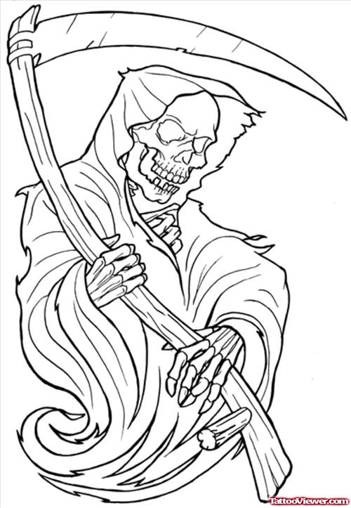 Attractive Outline Grim Reaper Tattoo Design