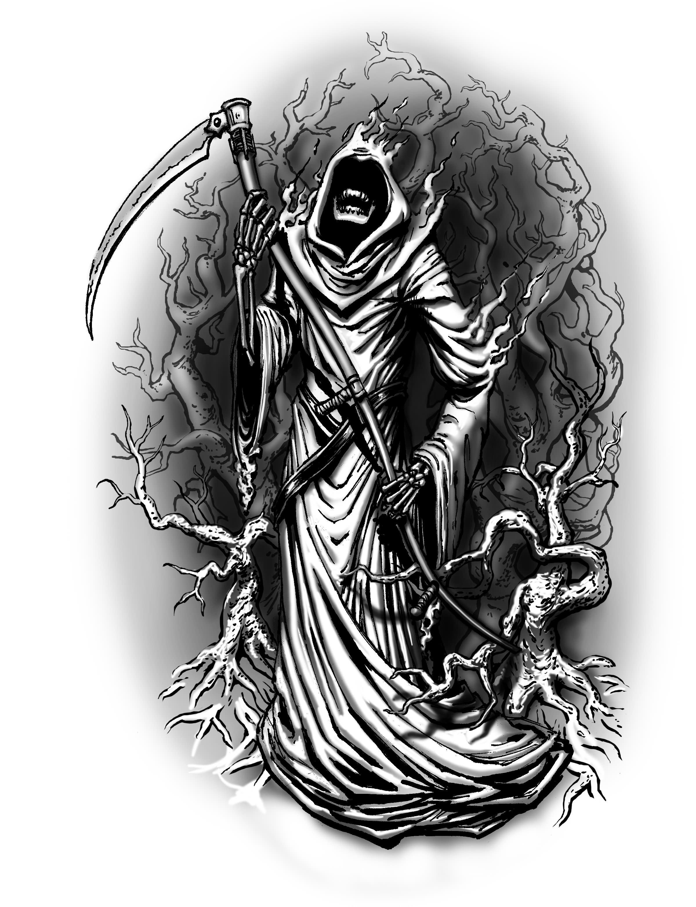 Beautiful Grey Ink Grim Reaper Tattoos Designs