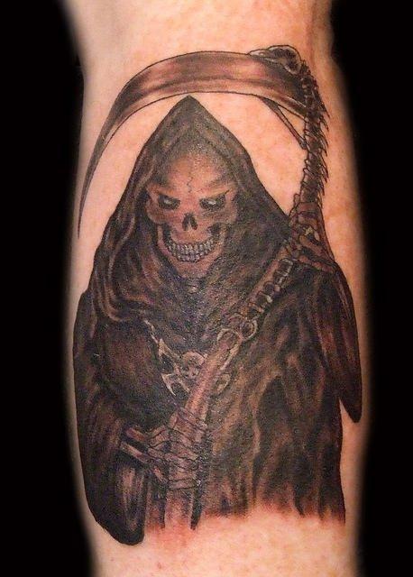 Inspiring Black Ink Grim Reaper Tattoo On Leg