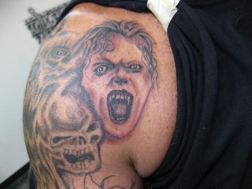 Back Shoulder Grim Reaper Tattoo