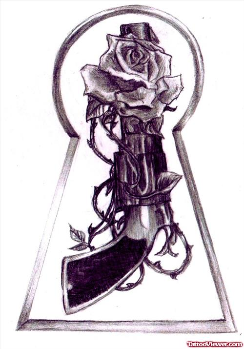 Grey Rose And Gun Tattoo Design