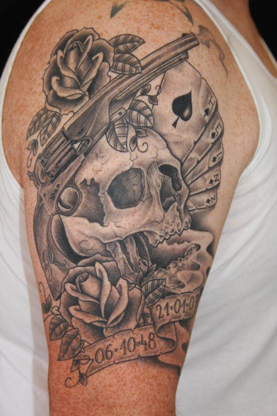 Grey Ink Skull And Gun Tattoo On Right Half Sleeve