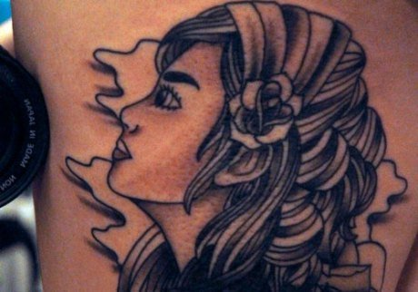 Grey Ink Gypsy Tattoo On Back