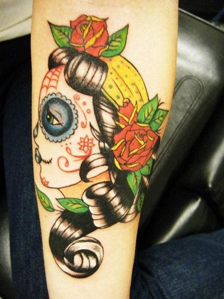 Gypsy Girl Head With Flowers Tattoo On Sleeve