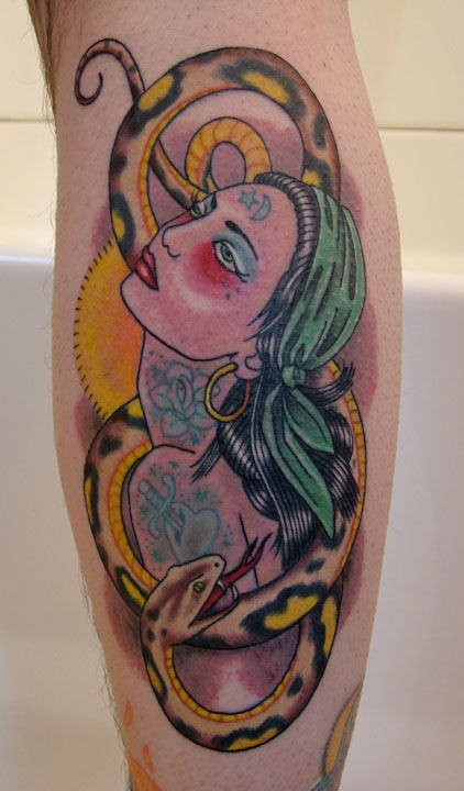 Color Snake And Gypsy Tattoo On Leg