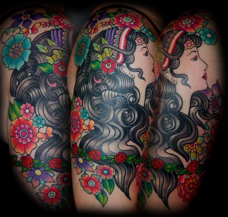Colored Flowers And Gypsy Head Tattoo