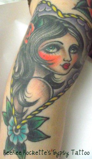 Gypsy Girl And Flower Tattoo