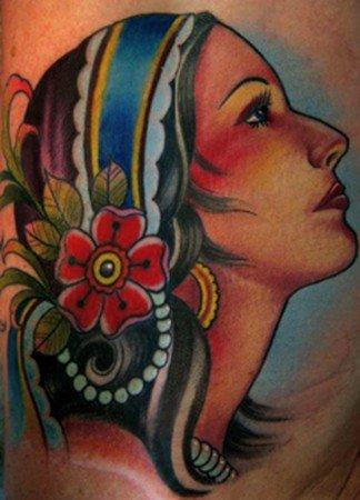 Attractive Colored Gypsy Head Tattoo