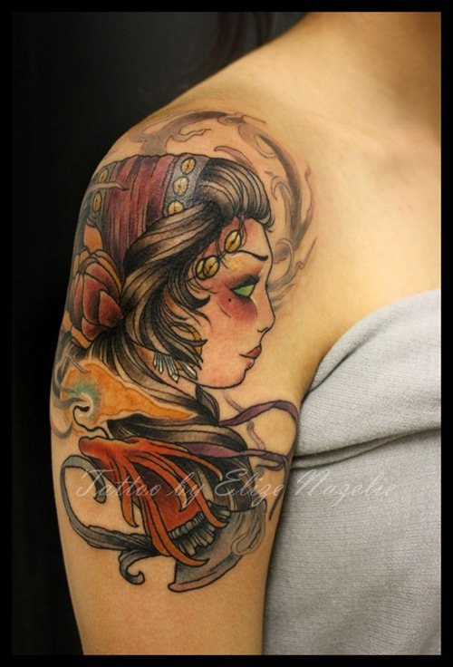 Attractive Color Ink Gypsy Tattoo On Right Shoulder