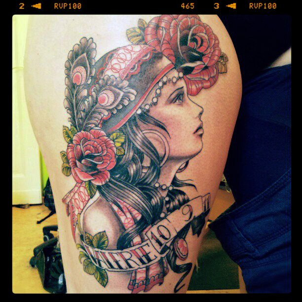 Red Flowers And Gypsy Tattoo On Side