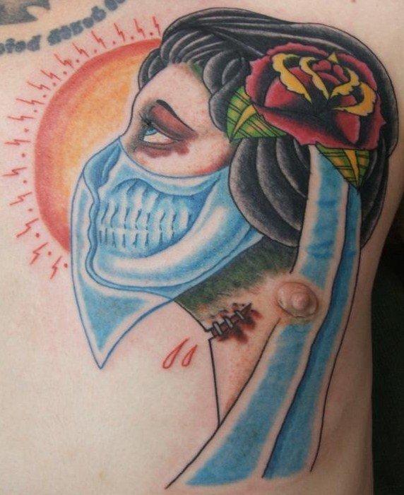 Gypsy Head With Blue Bandana Tattoo