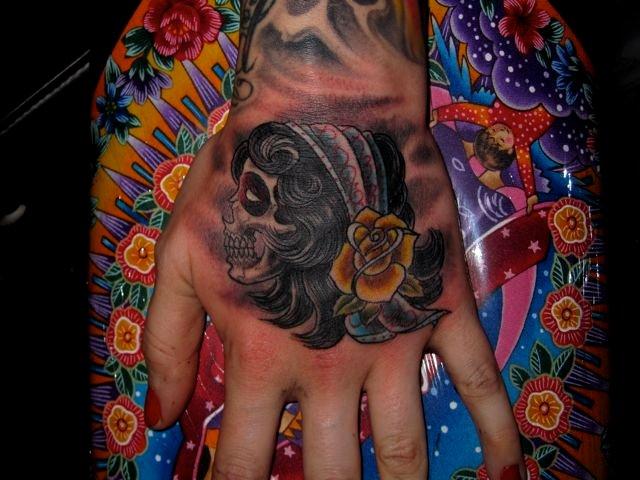 Gypsy Tattoo On Left Hand