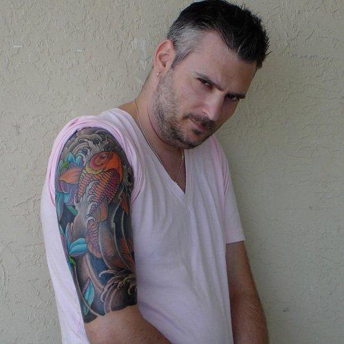 Colored Koi Half Sleeve Tattoo